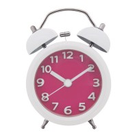 "Konigswerk 3"" Quiet Non-ticking Silent Quartz Analog Bedside Twin Bell Alarm Clock With Loud Alarm and Nightlight (Pink) AC027G"