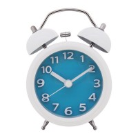 "Konigswerk 3"" Quiet Non-ticking Silent Quartz Analog Bedside Twin Bell Alarm Clock With Loud Alarm and Nightlight (Blue) AC028G"