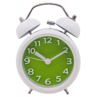 "Konigswerk 3"" Quiet Non-ticking Silent Quartz Analog Bedside Twin Bell Alarm Clock With Loud Alarm and Nightlight (Green) AC029G"
