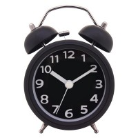 "Konigswerk 3"" Quiet Non-ticking Silent Quartz Analog Bedside Twin Bell Alarm Clock With Loud Alarm and Nightlight (Black) AC030G"