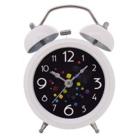 "Konigswerk 3"" Quiet Non-ticking Silent Quartz Analog Retro Vintage Bedside Twin Bell Alarm Clock With Loud Alarm and Nightlight (White) AC038G"