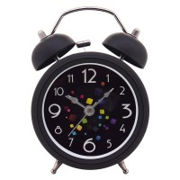 "Konigswerk 3"" Quiet Non-ticking Silent Quartz Analog Retro Vintage Bedside Twin Bell Alarm Clock With Loud Alarm and Nightlight (Black) AC039G"