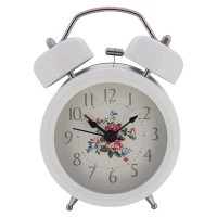 "Konigswerk 3"" Non-ticking Quartz Analog Twin Bell Alarm Clock With Nightlight (White) AC049-1G"