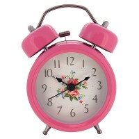 "Konigswerk 3"" Non-ticking Quartz Analog Twin Bell Alarm Clock With Nightlight (Pink) AC050-1G"