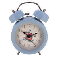 "Konigswerk 3"" Non-ticking Quartz Analog Twin Bell Alarm Clock With Nightlight (Blue) AC051G"