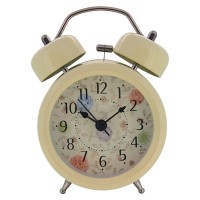 "Konigswerk 3"" Non-ticking Quartz Analog Twin Bell Alarm Clock With Nightlight (Light Yellow) AC052G"
