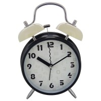"Kings & Queens 4"" Retro Non-ticking Quartz Analog Bedside Twin Bell Alarm Clock With Loud Alarm and Nightlight AC054-1G"