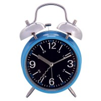 "Kings & Queens 4"" Retro Non-ticking Quartz Analog Bedside Twin Bell Alarm Clock With Loud Alarm and Nightlight AC055-1G"
